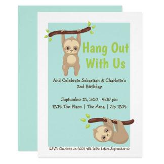 Cute Cartoon Sloth Birthday Party Card