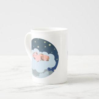 Cute Cartoon Slumbering Piglets Bone China Mug