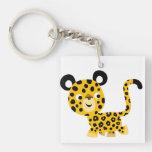 Cute Cartoon Smiling Leopard Acrylic Keychain
