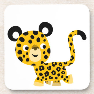Cute Cartoon Smiling Leopard Set of Coasters
