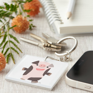 Cute Cartoon Smiling Pig Acrylic Keychain