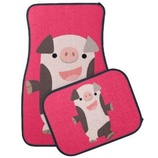 Cute Cartoon Smiling Pig Car Mats