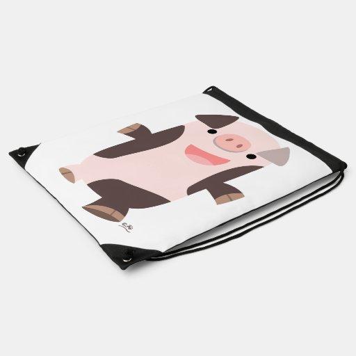 Cute Cartoon Smiling Pig Drawstring Back Pack Drawstring Bags