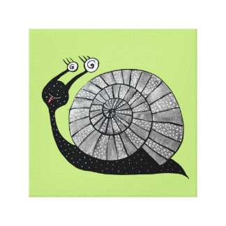 Cute Cartoon Snail Character With Spiral Eyes Canvas Print