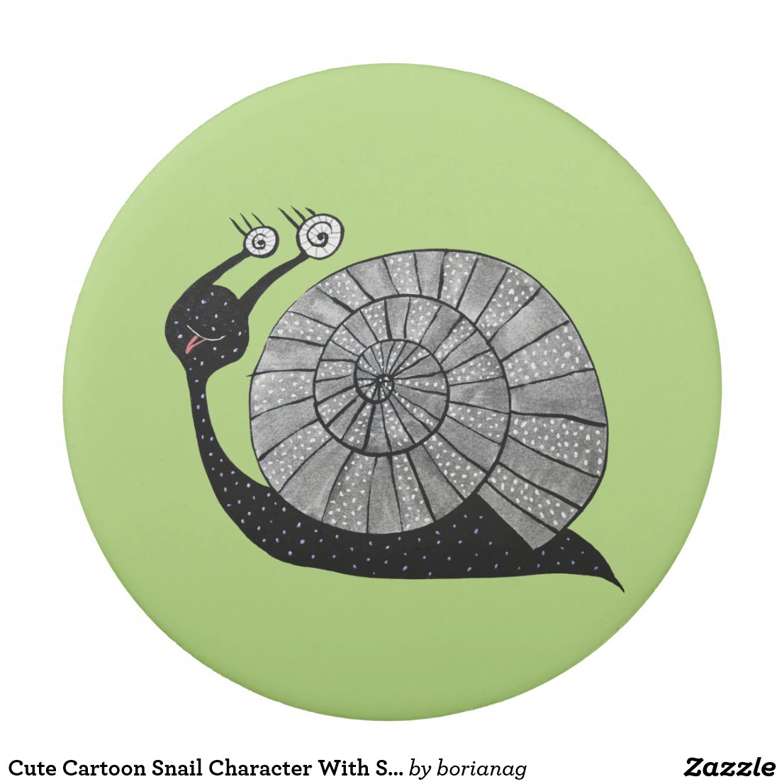 Cute Cartoon Snail Character With Spiral Eyes Eraser