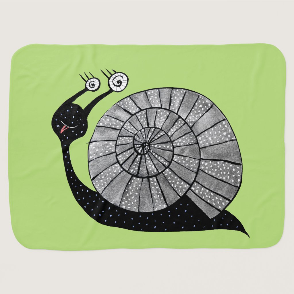 Cute Cartoon Snail Character With Spiral Eyes Name Stroller Blanket