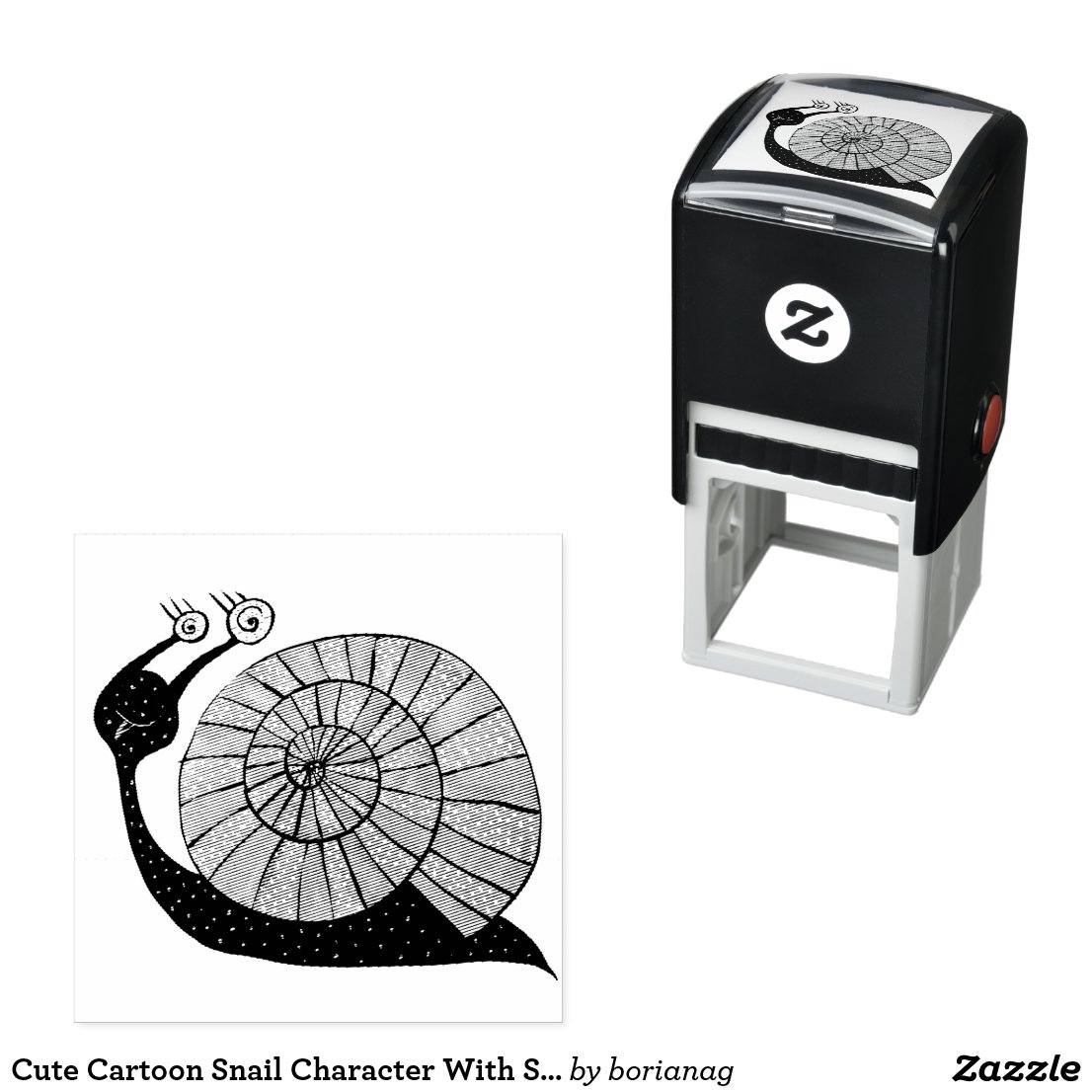 Cute Cartoon Snail Character With Spiral Eyes Self-inking Stamp