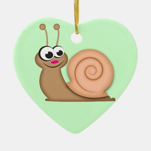 Cute Cartoon Snail Double-Sided Heart Ceramic Christmas Ornament