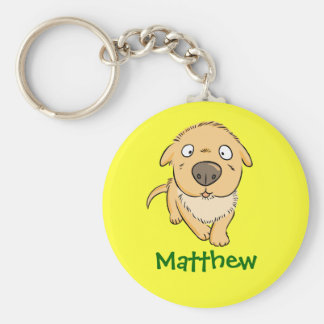 Cute Cartoon Sniffing Dog Personalized Name Gift Basic Round Button Keychain