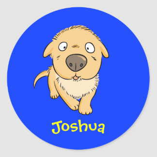 Cute Cartoon Sniffing Dog Personalized Name Gift Classic Round Sticker