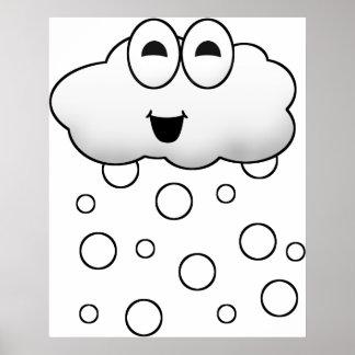 Cute Cartoon Snow Cloud Posters