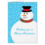 Cute Cartoon Snowman Holiday Greetings Greeting Cards
