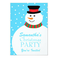 Cute Cartoon Snowman Kids Christmas Party 5x7 Paper Invitation Card
