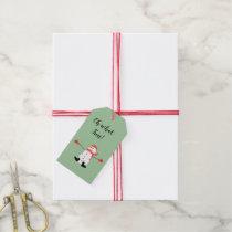 Cute Cartoon Snowman Oh What Fun Sage Green Gift Tags