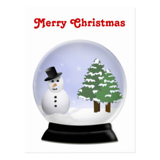 Cute Cartoon Snowman Snowglobe Postcard