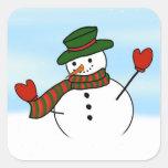 Cute Cartoon Snowman w/Green Hat & Mittens Square Sticker