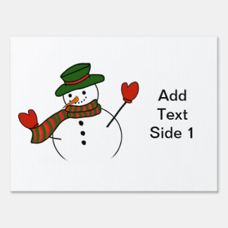 Cute Cartoon Snowman w/Green Hat & Mittens Signs