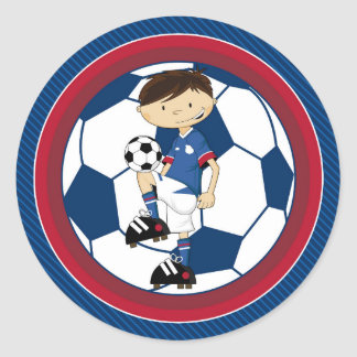 Cute Cartoon Soccer Football Boy Classic Round Sticker