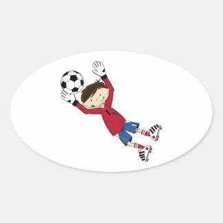 Cute Cartoon Soccer Football Boy Oval Sticker