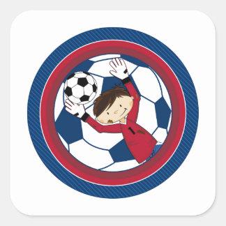 Cute Cartoon Soccer Football Boy Square Sticker