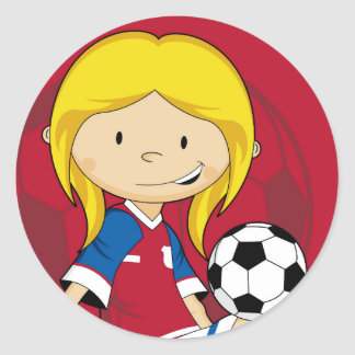 Cute Cartoon Soccer Football Classic Round Sticker