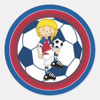 Cute Cartoon Soccer Football Girl Classic Round Sticker