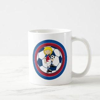 Cute Cartoon Soccer Football Girl Coffee Mug