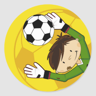 Cute Cartoon Soccer Football Goalkeeper Classic Round Sticker