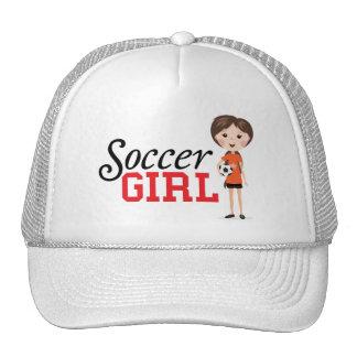 Cute cartoon soccer girl holding a ball trucker hat