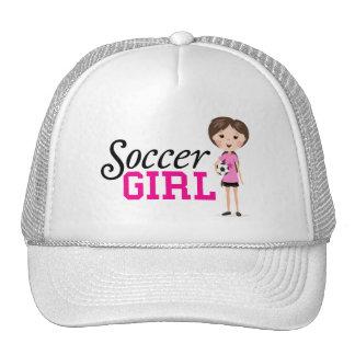 Cute cartoon soccer girl holding a ball - pink trucker hat