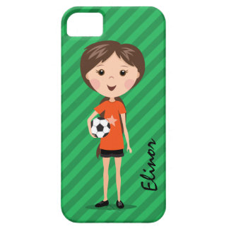 Cute cartoon soccer girl holding ball personalized iPhone 5 case