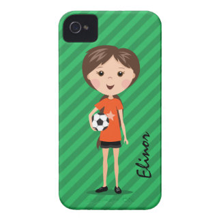 Cute cartoon soccer girl holding ball personalized iPhone 4 Case-Mate case