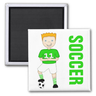 Cute Cartoon Soccer or Football Player Green Kit 2 Inch Square Magnet