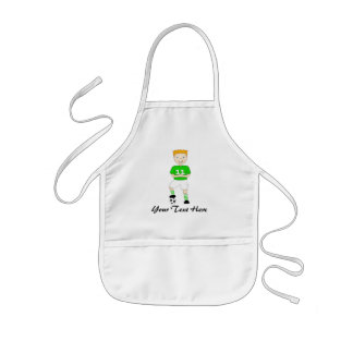 Cute Cartoon Soccer or Football Player Green Kit Kids' Apron