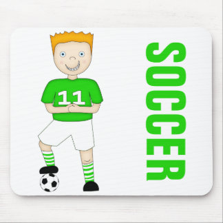 Cute Cartoon Soccer or Football Player Green Kit Mouse Pad
