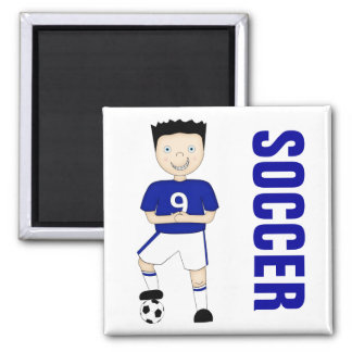 Cute Cartoon Soccer or Football Player in Blue Kit Magnet
