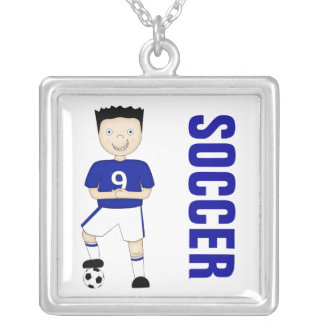Cute Cartoon Soccer or Football Player in Blue Kit Silver Plated Necklace