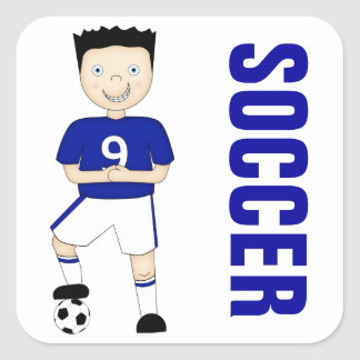 Cute Cartoon Soccer or Football Player in Blue Kit Square Sticker