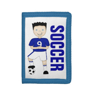 Cute Cartoon Soccer or Football Player in Blue Kit Trifold Wallets