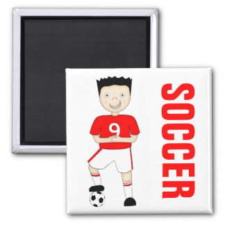 Cute Cartoon Soccer or Football Player in Red Kit 2 Inch Square Magnet