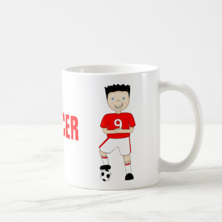 Cute Cartoon Soccer or Football Player in Red Kit Coffee Mug