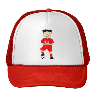 Cute Cartoon Soccer or Football Player in Red Kit Trucker Hat