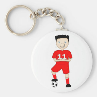 Cute Cartoon Soccer or Football Player in Red Kit Key Chains
