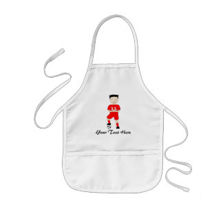 Cute Cartoon Soccer or Football Player in Red Kit Kids' Apron