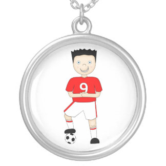 Cute Cartoon Soccer or Football Player in Red Kit Jewelry
