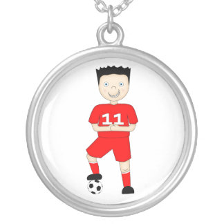 Cute Cartoon Soccer or Football Player in Red Kit Silver Plated Necklace