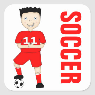 Cute Cartoon Soccer or Football Player in Red Kit Square Sticker