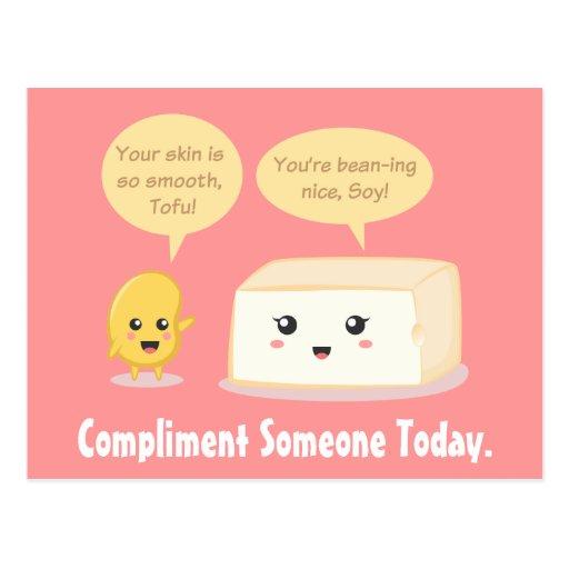 Cute Cartoon - Soy Bean compliments Tofu Postcard | Zazzle