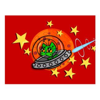 CUTE CARTOON SPACE KITTY CAT HORIZONTAL POSTCARD