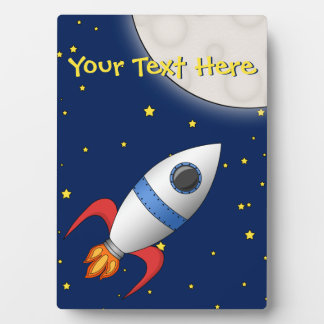 Cute Cartoon Space Rocket Ship Plaque